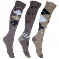 Riding socks -Cardiff- set of 3 pairs - brown/beige